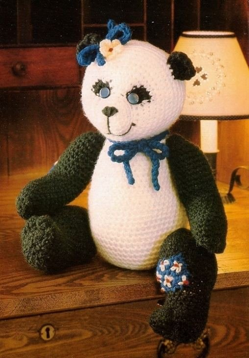 W094 Crochet PATTERN ONLY Sweet Panda Bear with Bow Doll Toy Pattern