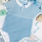 X288 Crochet PATTERN ONLY Little Boy's Blue Romper Pattern