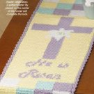 "X974 Crochet PATTERN ONLY ""He Is Risen"" Table Runner Easter Jesus Cross"