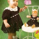 X286 Crochet PATTERN ONLY Birthday Girl & Matching Doll Dress Pattern