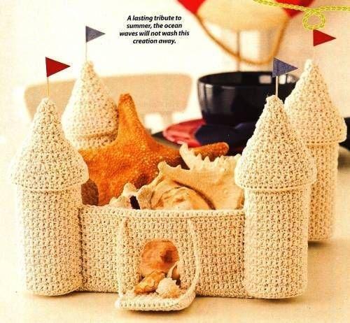 X200 Crochet PATTERN ONLY Summer Sand Castle Basket with Drawbridge & Turrets
