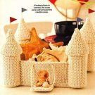 X200 Crochet PATTERN ONLY Summer Sand Castle Basket with Drawbridge & Turrets