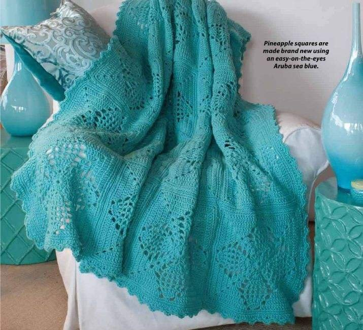 W061 Crochet PATTERN ONLY Pineapple Squares Afghan Throw Pattern
