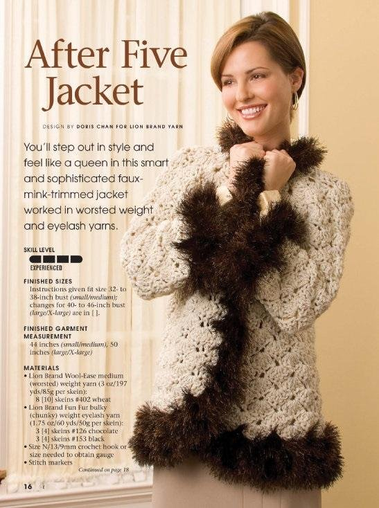 W134 Crochet PATTERN ONLY After Five Jacket with Fur Like Edging Pattern