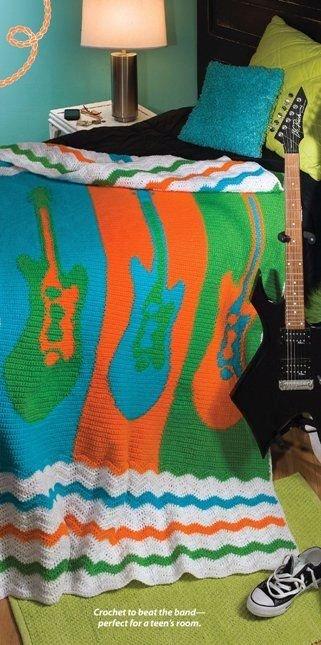 X301 Crochet PATTERN ONLY Rock & Roll Guitar Ripple Afghan Pattern