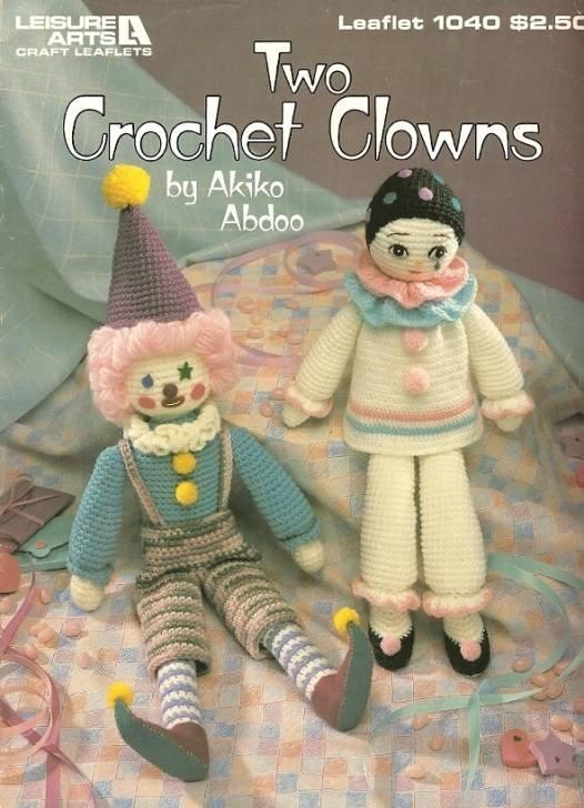 Y051 Crochet PATTERN Book ONLY Two Crochet Clowns Doll by Akiko Abdoo
