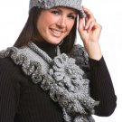 W118 Crochet PATTERN ONLY Greystone Frilly Scarf & Hat Pattern w/Flower