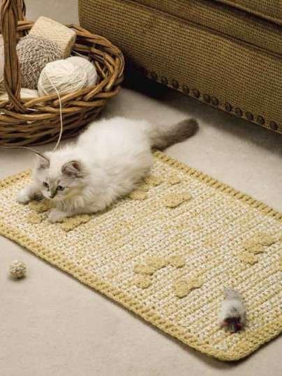 Y876 Crochet PATTERN ONLY Kitty Cat Rescue Rug & Ball Pattern Set