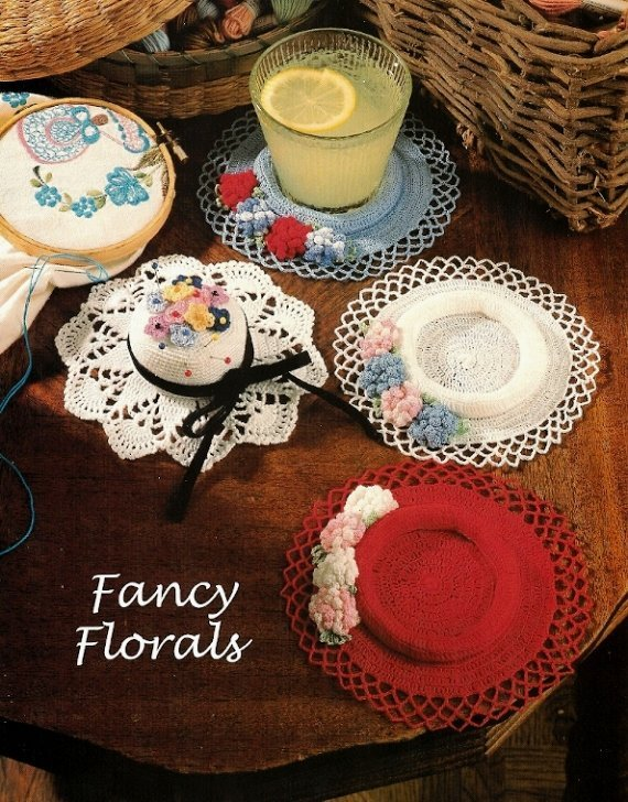 X321 Crochet PATTERN ONLY Antique Look Hat Pincushion & Flower Coaster Pattern