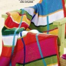 Y864 Crochet PATTERN ONLY Almost Preppy Plaid Color Block Afghan Throw Pattern