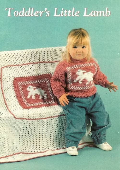 X447 Crochet PATTERN ONLY Toddler�s Little Lamb Pullover Sweater & Baby Blanket