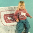 X447 Crochet PATTERN ONLY Toddler's Little Lamb Pullover Sweater & Baby Blanket