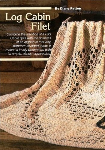 Y584 Filet Crochet PATTERN ONLY Log Cabin Filet Popcorn Afghan Pattern
