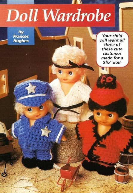 Y143 Crochet PATTERN ONLY Doll Wardrobe Policeman Karate Boy Fireman