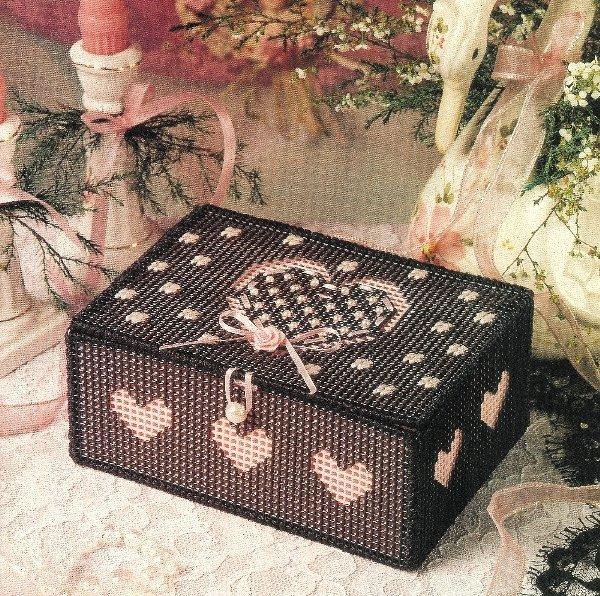 X825 Plastic Canvas PATTERN ONLY Sweetheart Treasure Box Pattern