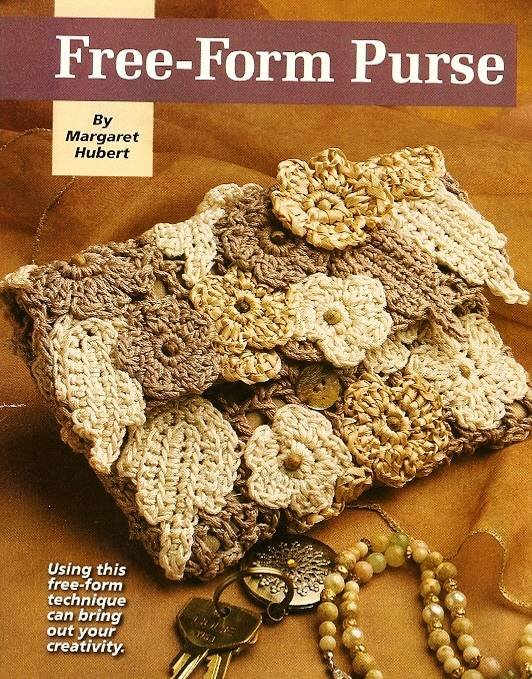 Y074 Crochet PATTERN ONLY Free-Form Floral Purse Clutch