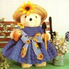 Y168 Crochet PATTERN ONLY Flowers for Sale Bear Dress Doll Toy