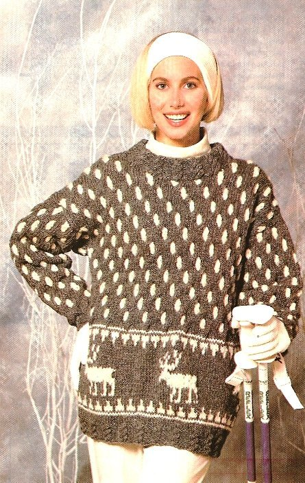 X374 Knit PATTERN ONLY Reindeer Tunic Pullover Sweater Pattern