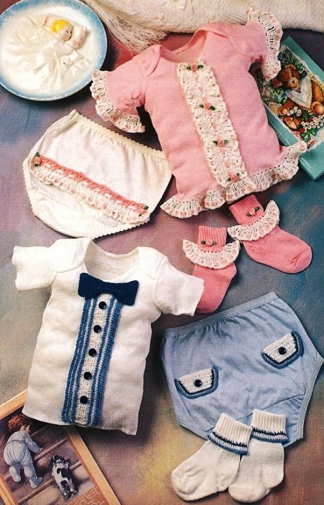 X593 Crochet PATTERN ONLY Fancy Baby Boy & Girl T-Shirt Socks and Pants Patterns