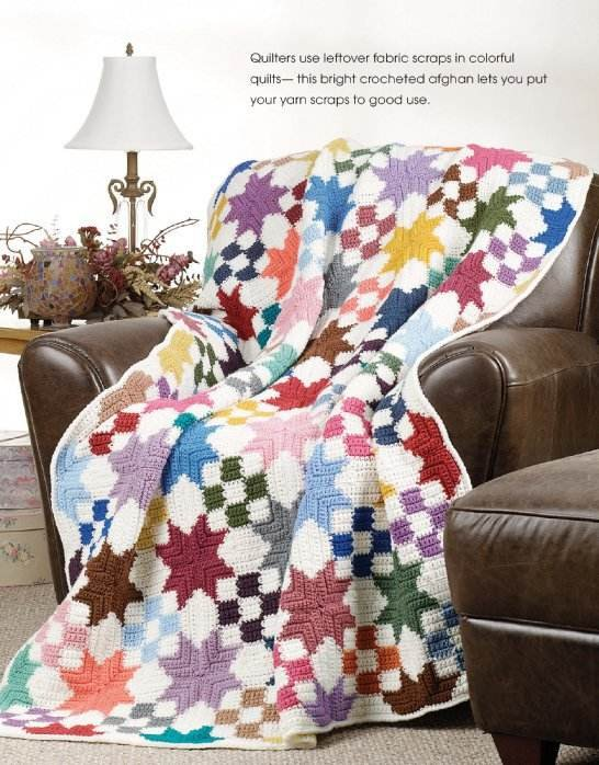 W126 Crochet PATTERN ONLY Star Quilt Patchwork Scrap Afghan Pattern