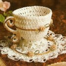 Y674 Crochet PATTERN ONLY Frilly Cup and Saucer Ornament Pattern