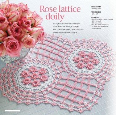W145 Crochet PATTERN ONLY Intricate Elegant Rose Lattice Doily Pattern