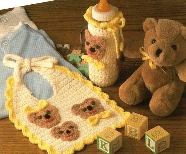 Y415 Crochet PATTERN ONLY Baby Bears Bib & Bottle Cover Pattern