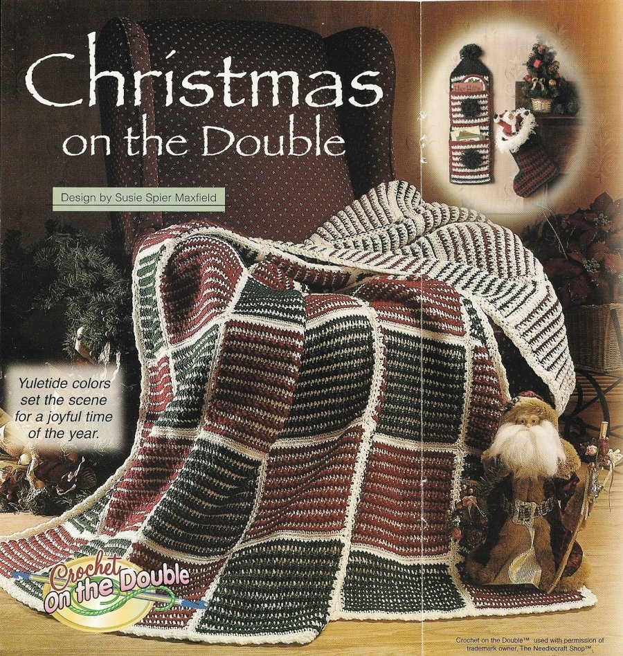 X423 Crochet PATTERN ONLY Christmas on the Double Afghan Stocking Pattern
