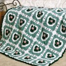 W142 Crochet PATTERN ONLY Irish Hearts Afghan Pattern Shamrock Rose