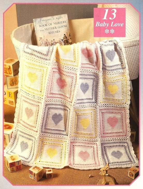 X075 Crochet PATTERN ONLY Heart Baby Blanket, Wallhanging and Sachet Pattern
