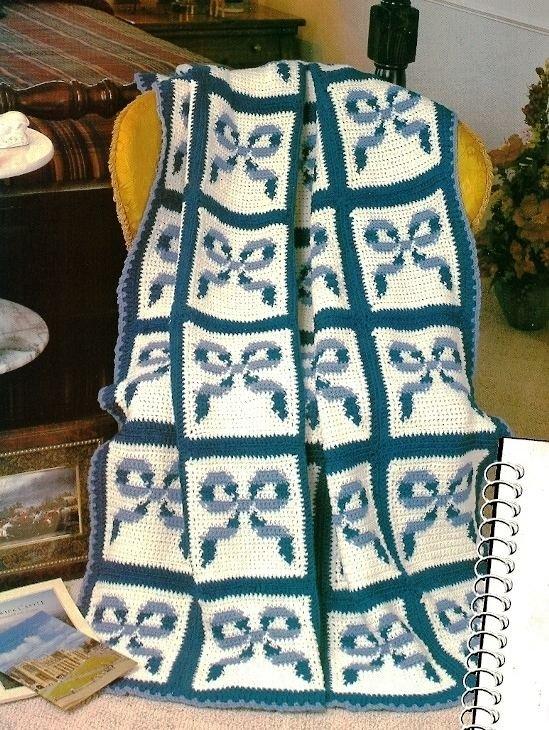 W091 Crochet PATTERN ONLY Royal Bows Afghan Pattern