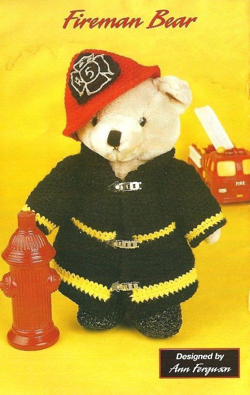 X615 Crochet PATTERN ONLY Granny Stocking & Fireman Toy Bear