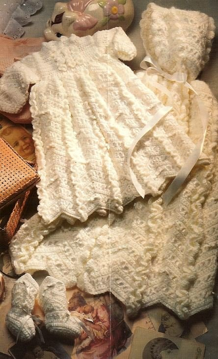 X127 Crochet PATTERN ONLY Christening Day Outfit Cape Dress Booties Patterns