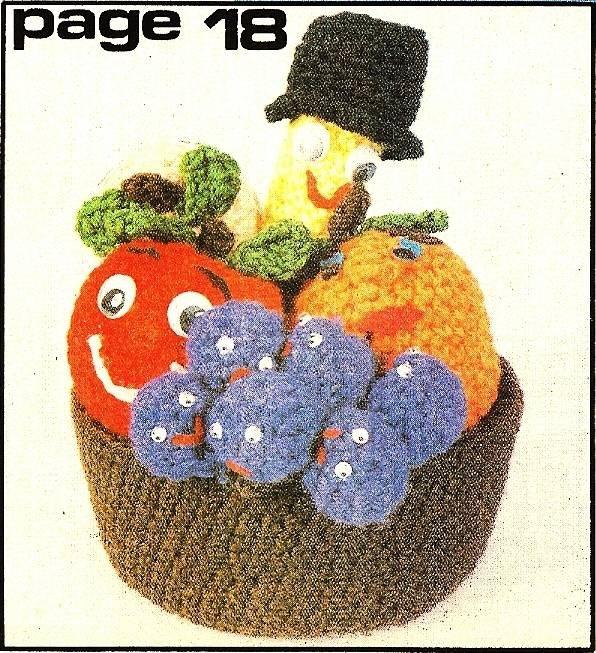 Y456 Crochet PATTERN ONLY Happy Fruit Bowl Banana Grapes Apple Orange Patterns
