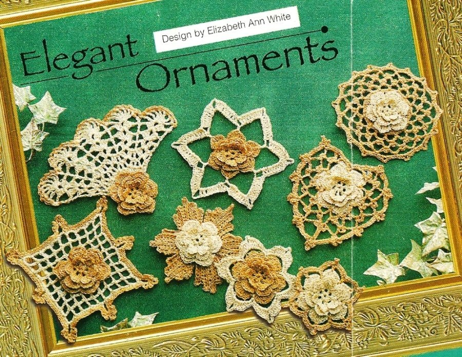 X686 Crochet PATTERN ONLY 8 Elegant Christmas Ornaments Fan Heart Flower