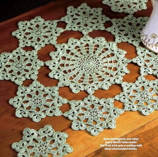 Y176 Crochet PATTERN ONLY Shamrock Doily & Coaster St. Patrick's Day Irish