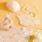 Y489 Crochet PATTERN ONLY Ribbons & Lace Baby Bib Bonnet Booties Blanket Pattern