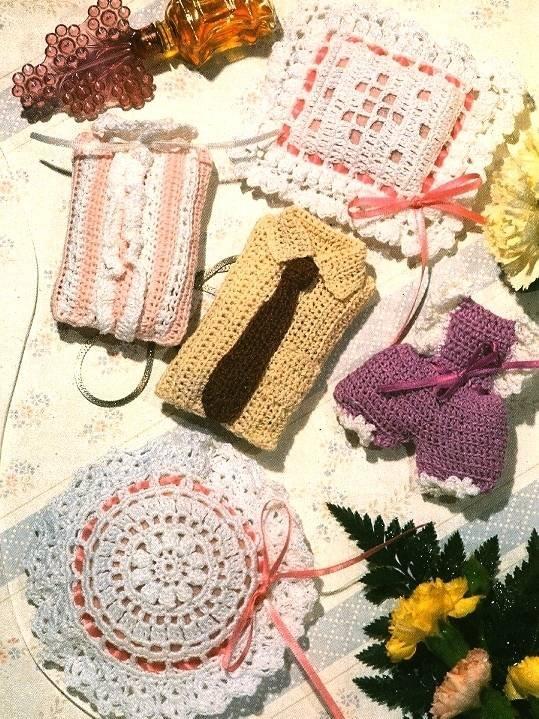 X512 Crochet PATTERN ONLY Sensational Sachets Bloomers Shirt & Tie Bloomers