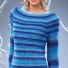 W119 Crochet PATTERN ONLY Blue Jewels Pullover Sweater Self Striping Pattern