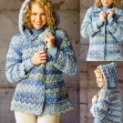 X379 Crochet PATTERN ONLY Denim Marble Hooded Jacket Pattern