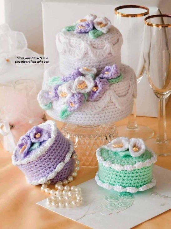 X133 Crochet PATTERN ONLY Cake Box Pattern Bridal Shower Gifts Pattern