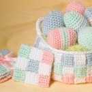 Y004 Crochet PATTERN ONLY Easter Eggs, Basket & Coaster