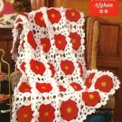 X757 Crochet PATTERN ONLY Poinsettia Afghan & Decorative Candle