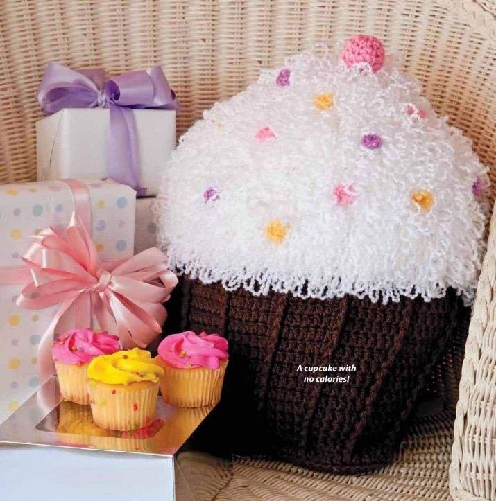W063 Crochet PATTERN ONLY Cupcake Pillow Tea Party Pattern