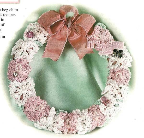 X644 Crochet PATTERN ONLY It�s a Girl and It�s a Boy Baby Announcement Wreath