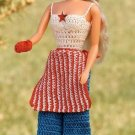 W166 Crochet PATTERN ONLY Fashion Doll Picnic Hat top Pants Apron Pattern