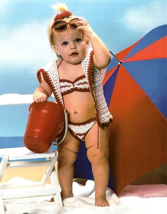 Y994 Crochet PATTERN ONLY Toddler Bikini and Cover-up Pattern Beach Girl