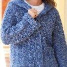 Y815 Crochet PATTERN ONLY Denim Tweed Hooded Ladies Car Coat Pattern Sized to 3X