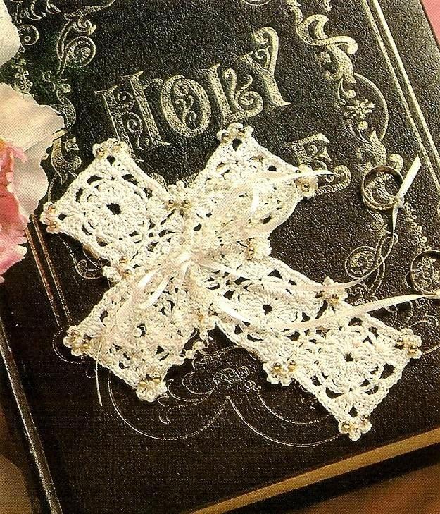 Y740 Crochet Beaded PATTERN ONLY Bride's Wedding Cross Pattern