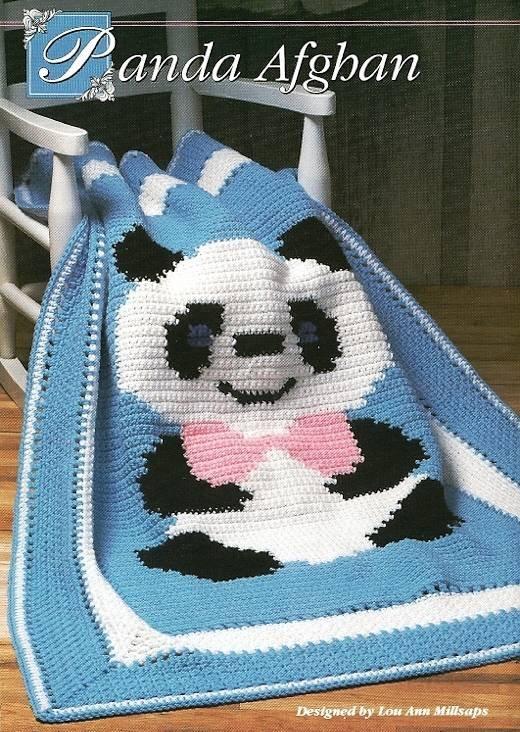 Y398 Crochet PATTERN ONLY Crochet Home 7 Best Afghans Leaflet Panda Fans Baby